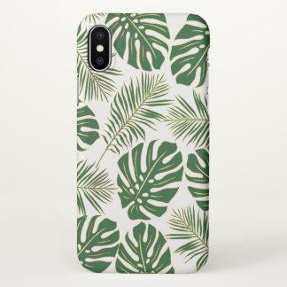 Funda Para iPhone X Oro verde moderno de las hojas tropicales