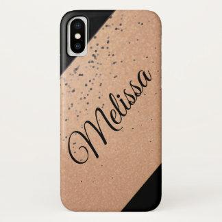 Funda Para iPhone X Oro y chispa del negro personalizada