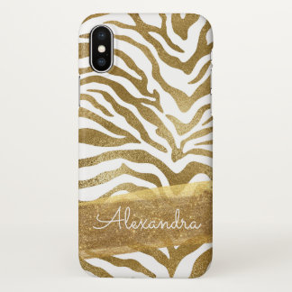 Funda Para iPhone X Oro y estampado de animales blanco con purpurina