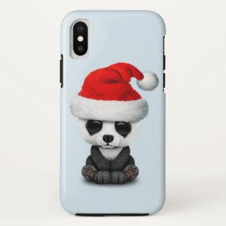Funda Para iPhone X Oso de panda del bebé que lleva un gorra de Santa