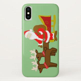 Funda Para iPhone X Papá Noel en el trineo del navidad