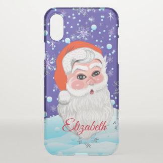 """Funda Para iPhone X """"Papá Noel lindo"""" con el nombre personalizado"""