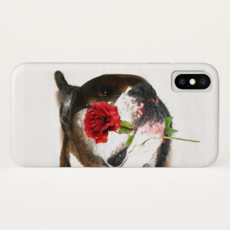 Funda Para iPhone X Perro del boxeador con la caja color de rosa del