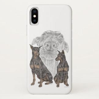 Funda Para iPhone X Perros negros y del moreno del Doberman