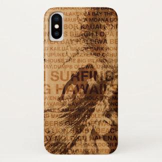 Funda Para iPhone X Persona que practica surf de madera del sitio