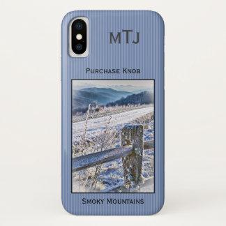 Funda Para iPhone X Personalice: Montañas ahumadas, invierno del botón