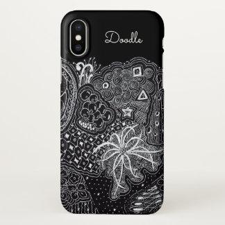 Funda Para iPhone X Personalice: Tinta blanca en arte negro del Doodle
