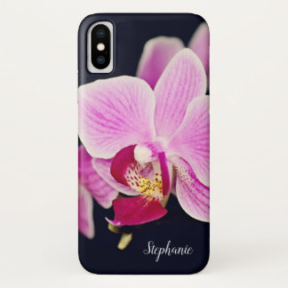 Funda Para iPhone X Personalizado floral de la orquídea rosada fucsia