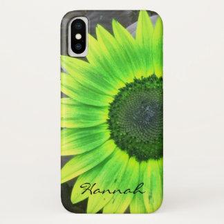 Funda Para iPhone X *personalize* del girasol de la verde lima y del