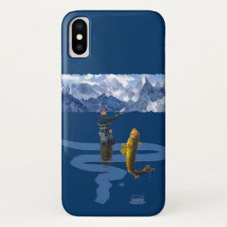 Funda Para iPhone X Pescador y Rod que pescan al aire libre el diseño