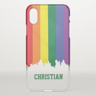 Funda Para iPhone X Pintura del goteo del arco iris del orgullo gay de