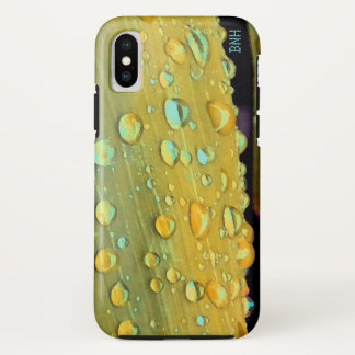 Funda Para iPhone X Primer de las gotas de agua, amarillo de la