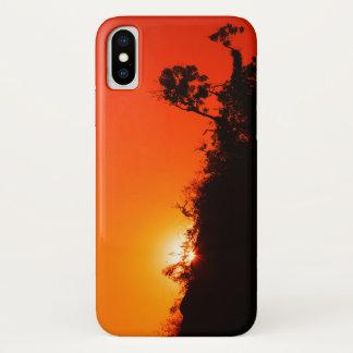 Funda Para iPhone X Puesta del sol de la silueta