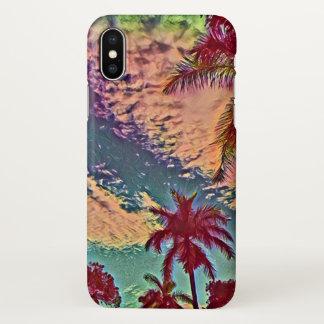 Funda Para iPhone X Puesta del sol tropical del paraíso de la palma de