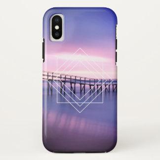 Funda Para iPhone X Puesta del sol violeta y rosada de la playa con
