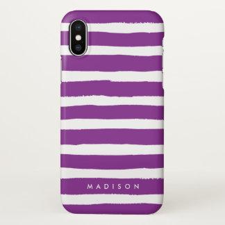 Funda Para iPhone X Púrpura personalizada y raya cepillada blanco