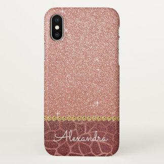 Funda Para iPhone X Purpurina del oro y estampado de animales color de