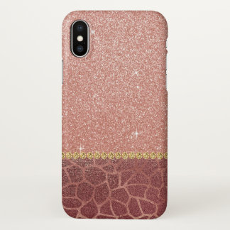 Funda Para iPhone X Purpurina del oro y estampado de animales color de