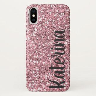 Funda Para iPhone X Purpurina rosado personalizado con su nombre