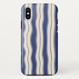 Funda Para iPhone X Rayas azules y blancas onduladas