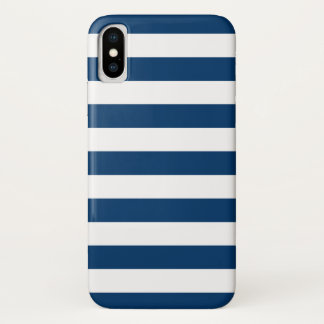 Funda Para iPhone X Rayas de azules marinos blancas intrépidas