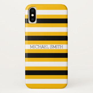 Funda Para iPhone X Rayas modernas ambarinas blancas negras