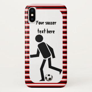 Funda Para iPhone X Rayas negras y rojas del jugador de fútbol y de la