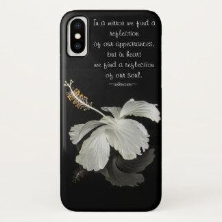 Funda Para iPhone X Reflexión del hibisco con cita inspirada