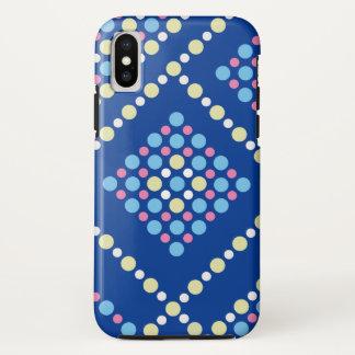 Funda Para iPhone X Rejilla azul del estallido del caramelo colorido