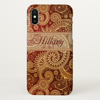 Funda Para iPhone X Rojo conocido de la plantilla de Paisley