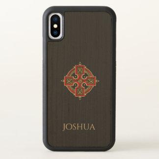 Funda Para iPhone X Rojo y caso de madera del iPhone X de la cruz
