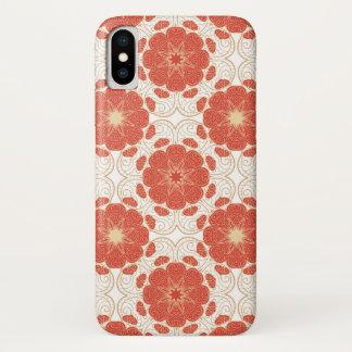 Funda Para iPhone X Rojo y modelo floral del cordón del oro