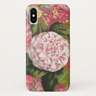 Funda Para iPhone X Rosa elegante del collage de la camelia del
