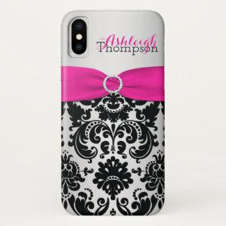 Funda Para iPhone X Rosa personalizado, negro, iPhone de plata X del