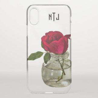 Funda Para iPhone X Rosa rojo en la fotografía floral de la botella -