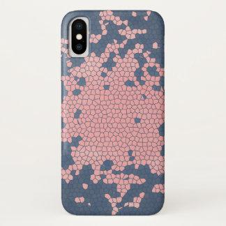 Funda Para iPhone X Rosa y caja azul del teléfono celular del arte de