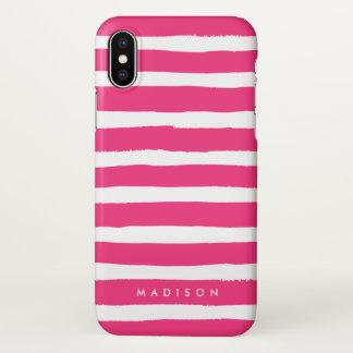 Funda Para iPhone X Rosas fuertes personalizadas y raya cepillada