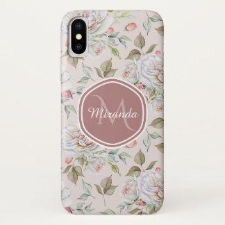Funda Para iPhone X Rosas poner crema elegantes monograma y nombre