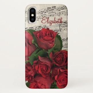 Funda Para iPhone X Rosas rojos y nombre de la melodía del amor