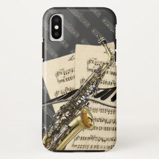 Funda Para iPhone X Saxofón y música del piano