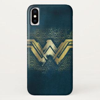 Funda Para iPhone X Símbolo cepillado Mujer Maravilla del oro
