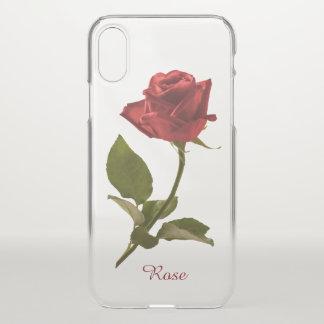 Funda Para iPhone X Sola fotografía floral del rosa rojo - BG clara