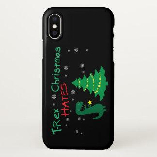 Funda Para iPhone X T-Rex odia la caja del teléfono del navidad