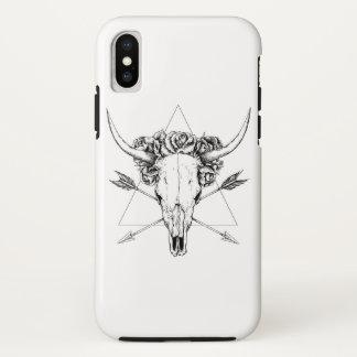 Funda Para iPhone X Tatuaje del cráneo de Bull