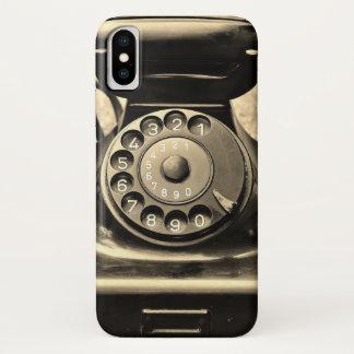 Funda Para iPhone X Teléfono rotatorio del vintage en la caja del