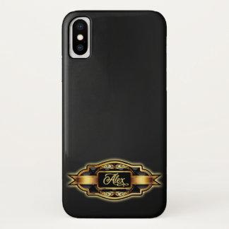 Funda Para iPhone X Texto adornado negro brillante del personalizado