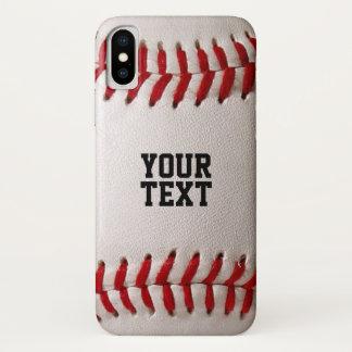 Funda Para iPhone X Textura de los deportes del béisbol con nombre