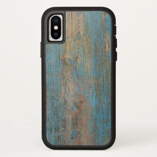 Funda Para iPhone X Textura de madera resistida fresca de la pintura