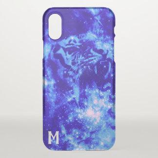 Funda Para iPhone X Tigre con monograma del espacio