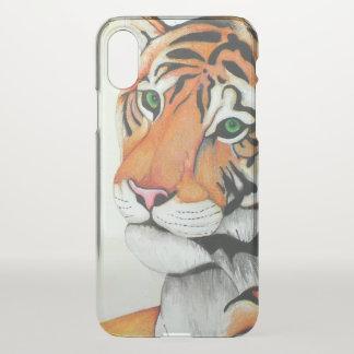 Funda Para iPhone X Tigre (lápiz por el arte de Kimberly Turnbull)